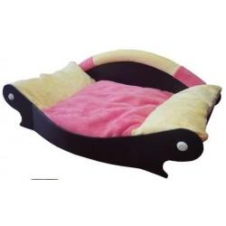 canapé style design facon panier pour chien coussin rose  tendre