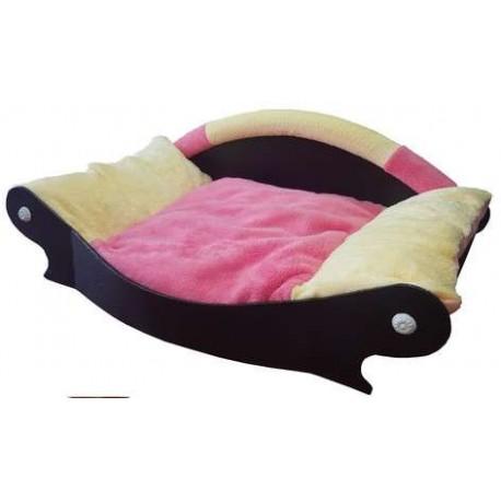 corbeille pour chien avec coussin de couchage en mousse rose et jaune
