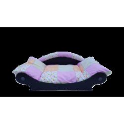lit en forme de canapé pour chien avec coussin tissu patchwork rose