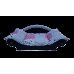 panier en forme de canapé pour chien avec coussin tissu patchwork rouge