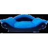 panier en forme de canapé pour chien avec coussin tissu bleu turquoise