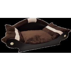 panier pour chien en forme de canapé  marron foncé avec deux bandes écru