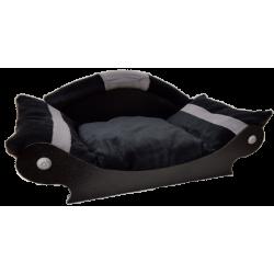 panier pour chien en forme de canapé  noir avec deux bandes grises