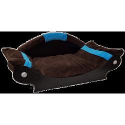 panier pour chien fidéle style canapé coussin lavable marron foncé turquoise