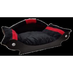 couchage-chien-fauteuil-chat-lit-corbeille-panier-noir-avec-bandes-rouge