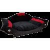couchage chien-fauteuil chat - lit- corbeille-panier noir avec bandes rouge