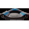 panier chien-fauteuil chat - lit- corbeille- couchage gris  avec bandes turquoise