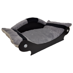 très beau canapé pour chien avec couchage gris avec bandes noir
