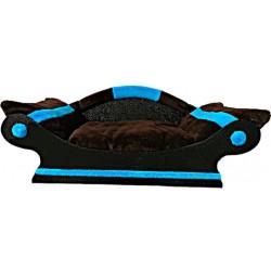 seduisante corbeille canape pour chien -chat marron avec bandes turquoise fait main