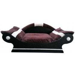 ravissant canapé style panier pour chien coussin marron fonce et écru