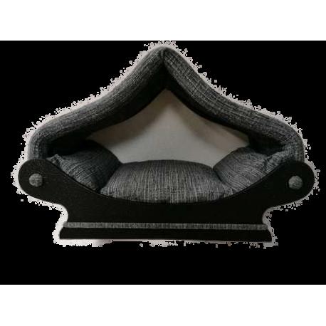 dôme- maisonnette en tissu d'ameublement noir et gris trés original pour chat ou petit chien