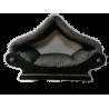 grand dôme- maisonnette en tissu d'ameublement noir et gris pour gros  chat ou petit chien