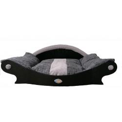 grand panier noir avec une bande grise pour chien corbeille fait main