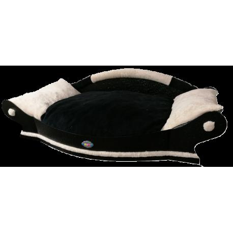 très jolie grand fauteuil arrondi pour chien coussin noir et blanc deux tons