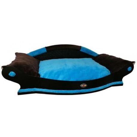 fauteuil pour  grand chien  avec coussin turquoise et marron