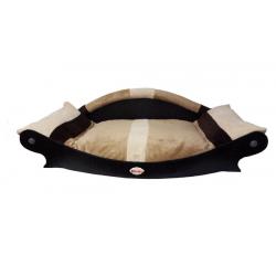 fauteuil design style canape pour chien- coussin écru marron clair marron foncé lavable en machine