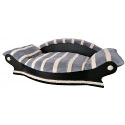 très joli fauteuil arrondi pour chien couchage gris avec des rayures écrus