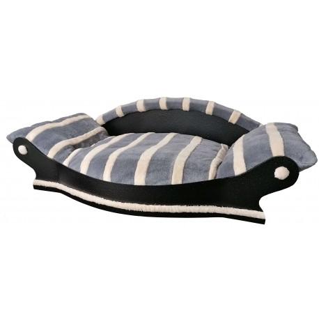 très joli grand fauteuil arrondi pour chien couchage gris avec des rayures écrus