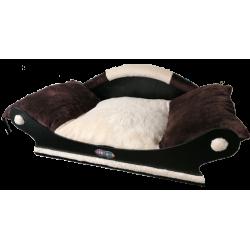 Fauteuil pour petit chien -chat avec coussin amovible écru lavable en machine