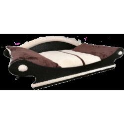 fauteuil de style pour chien couchage marron foncé et écru lavable a 40°