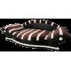 grand fauteuil xxl pour chien coussin marron avec des bandes  écrus fait à la main en France