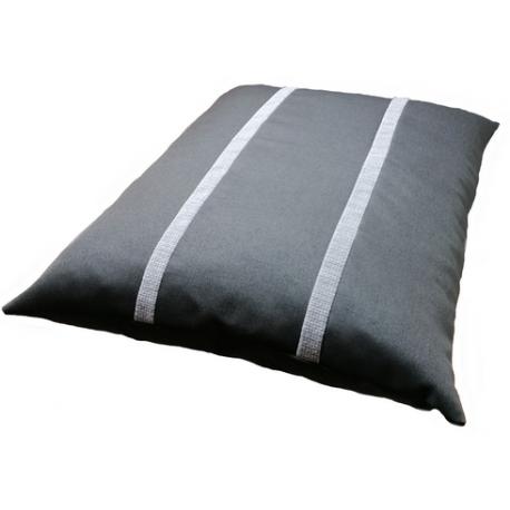 coussin déhoussable pour chien tissu gris ,noir avec des rayures gris claire