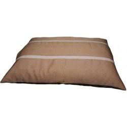 coussin xxl déhoussable pour grand chien moyen tissu d'ameublement marron orangé  avec des rayures marron claire