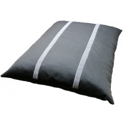coussin non déhoussable pour chien tissu gris ,noir avec des rayures gris claire