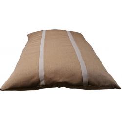 coussin déhoussable pour chien tissu d'ameublement marron foncé  avec des rayures marron claire et du gris