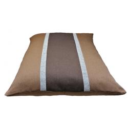 coussin  non déhoussable pour chien couchage en tissu d'ameublement marron foncé  avec des rayures marron claire et du gris