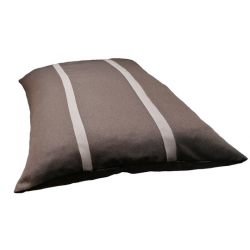 coussin rectangulaire  déhoussable pour chien tissu d'ameublement marron foncé  avec des rayures marron claire