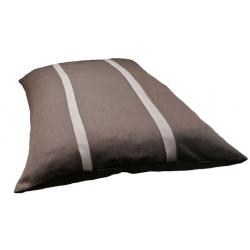 coussin rectangulaire xxl déhoussable pour grand chien tissu marron foncé  avec deux rayures marron claire