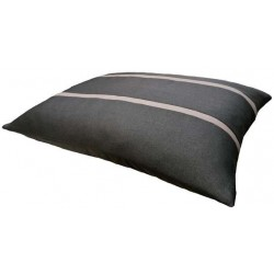 coussin confort pour chien moyen qui accroche pas les poils en tissu noir  avec des rayures marron
