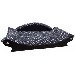 Canapé Royal coussin noir avec pois blanc façon panier pour chien de grande taille