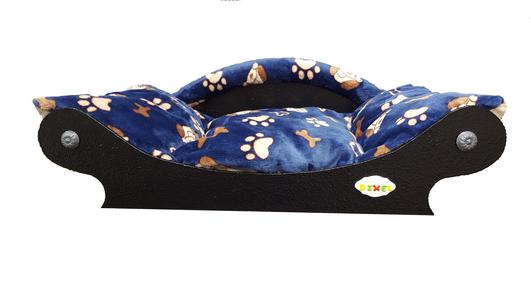 canape - fauteuil-super confortable pour chien-chat chiots tissu doudou bleu fonce avec pattes et os