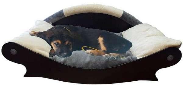canape couchage pour chien corbeille panier coussin en fourrure ecru grise ecru avec chien