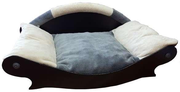 canape couchage pour chien corbeille panier coussin en fourrure ecru grise ecru de cote