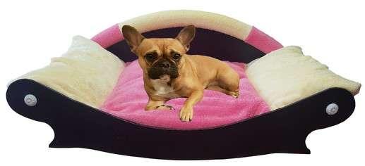 canape couchage pour chien corbeille panier coussin en fourrure jaune paille rose jaune paille avec bouledog