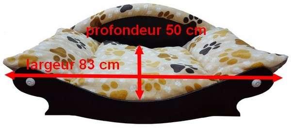 canape couchage pour chien panier corbeille tissu en fourrure douce imprimé pattes avec dimensions