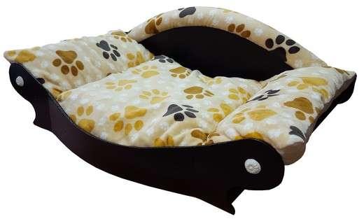 canape couchage pour chien panier corbeille tissu en fourrure douce imprimé pattes de coté