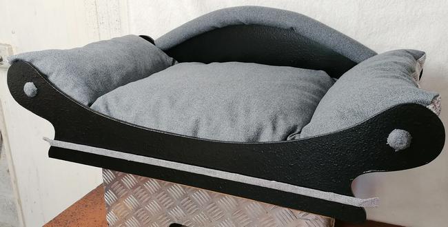 canape-corbeille-  tissu dameublement  gris fonce pour chien coussin pour un lavage en machine