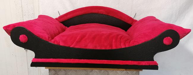 canape-fauteuil  rouge  pour chien coussin amovible-