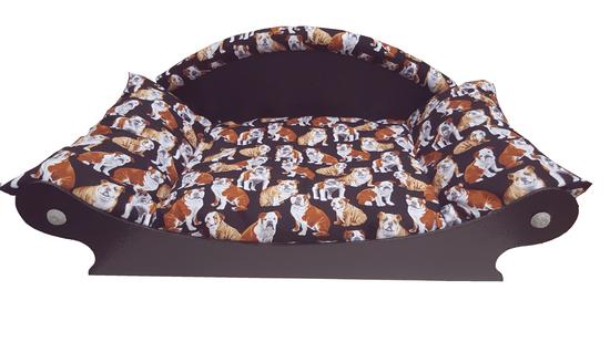 canape-lit-corbeille-fauteuil pour chien- chiots avec couchage coussin  bouledogue francais de face 550