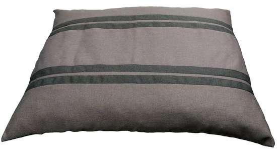 coussin xl déhoussable pour chien tissu gris clair avec des bandes gris foncé