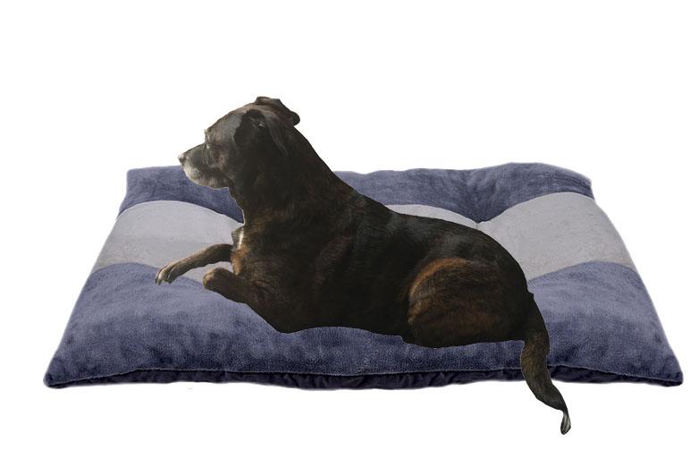 coussin de couchage sol pour chien tissu uni gris foncé et gris clair
