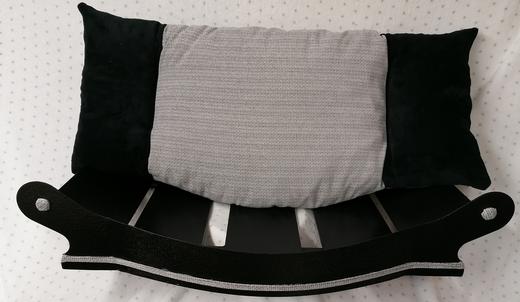 fauteuil royal 105 gris claire ameublement  et noir fourrure coussin amovible