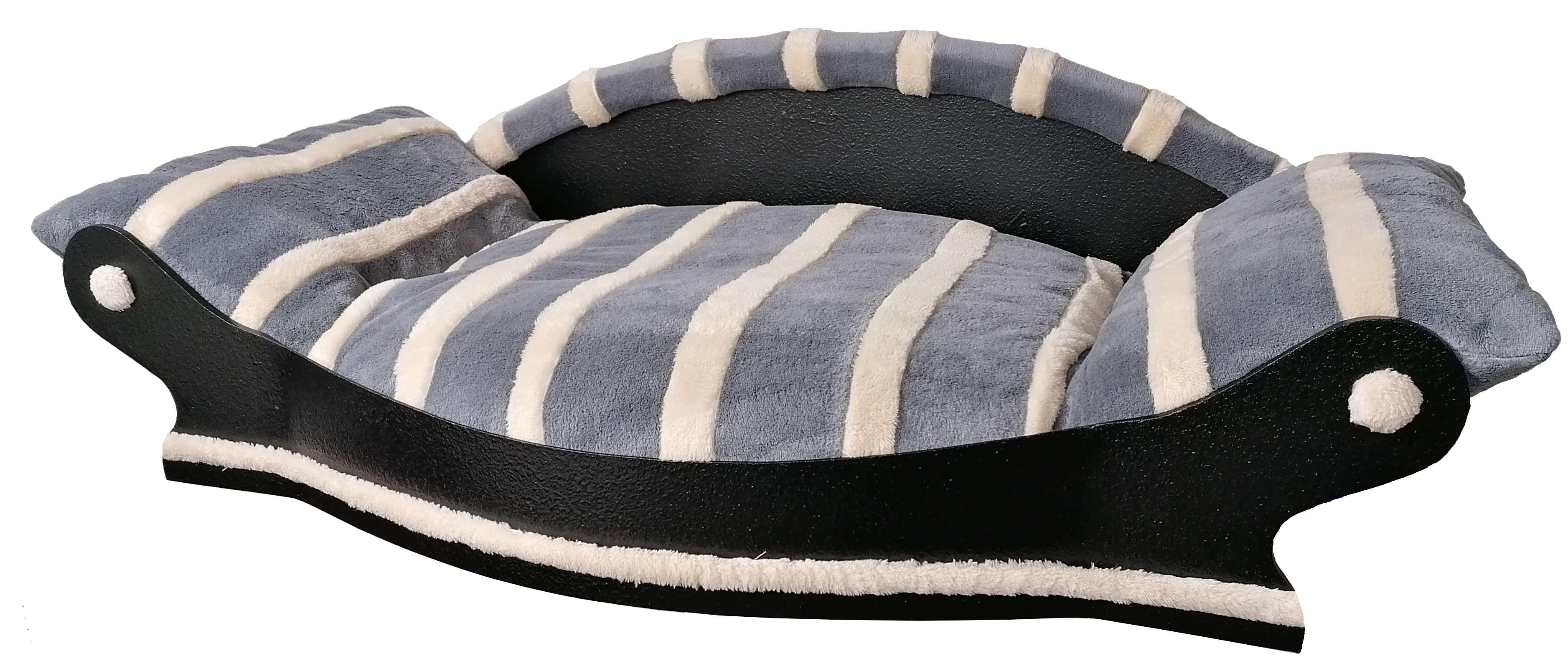 grand fauteuil arrondi pour chien  couchage gris avec des rayures écrus