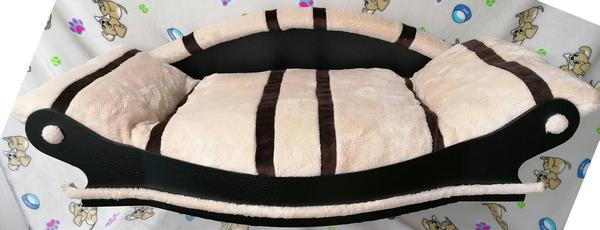 magnifique fauteuil pour chien-pour assurer un bien- être maximal coussin écru avec des rayures marron