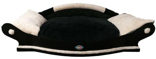 tres jolie canape -fauteuil pour chien avec coussin noir blanc et noir